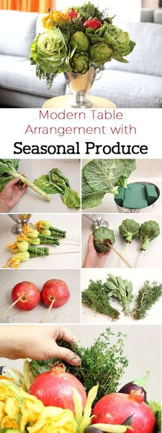 Not all floral arrangements need to have flowers. Showcase the bounty of fall in all its glory, with cabbages, artichokes, pomegranates and other seasonal fruits and vegetables. It's a great addition to your table top this season! www.ehow.com/...