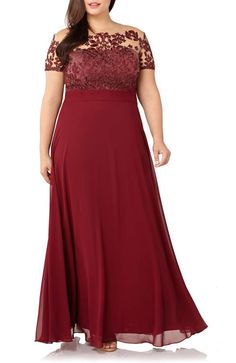 Stunning burgundy illusion gown for Mother-of-the-Bride - JS Collections Floral Embroidered Chiffon Gown (Plus Size) Plus Size Wedding Guest Dresses, Plus Size Formal Dresses, Evening Dresses Plus Size, Mob Dresses, Trendy Dresses, Plus Size Dresses, Bridesmaid Dresses, Wrap Dresses, Mother Of The Bride Gown