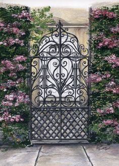 I love all the gates and gardens in Charleston….you will see a recurring theme… I love all the gates and gardens in Charleston….you will see a recurring theme of harps and lyres in the scrollwork…. Tor Design, Gate Design, Door Gate, Fence Gate, Fences, Wrought Iron Gates, Metal Gates, Garden Doors, Iron Garden Gates