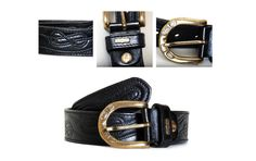 Leather belt Boho country Style, Black, Italian Belt/ Vintage Woman's Accessories by SixVintageChicks on Etsy
