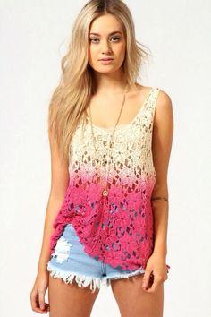 pink ombre crochet top