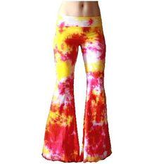 Yellow Pink Orange Tie Dyed Yoga Flares rave pants Choose Size. $70.00, via Etsy.
