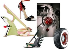 """Fashion Hot rods"" by weddingshoesandaccessories on Polyvore.  These images have been floating around all week and with the help of Polyvore iv created this set. Great shoes inspired by Cars. comment is by Peter Greenawa from the wedding Boutique www.bridalshoesuk.co.uk"
