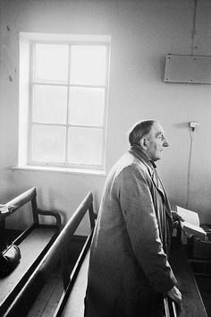Crimsworth Dean Methodist Chapel. Charlie Greenwood singing Hymms in the chapel. 1976 by Martin Parr