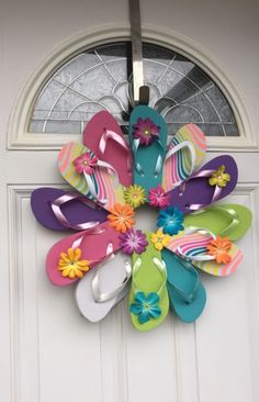 Handmade Flip Flop Wreath Door Wall Decor Stripes And Colors