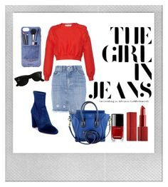 """• Jean Skirt Addiction •"" by fashion-fields-forever ❤ liked on Polyvore featuring rag & bone, Versace, Steve Madden, CÉLINE, Chanel, NARS Cosmetics, Iphoria, Ray-Ban and Polaroid"