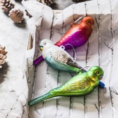 Set of 3 Parrot Hanging Decorations - Tree Decorations - Christmas Home - Christmas