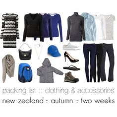 New Zealand :: autumn :: two weeks :: packing list - clothing & accessories