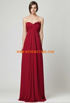 Cranberry long strapless chiffon gown with flower detail on bodice and empire waist. More Details From Monique Lhuillier Bridesmaids Red Bridesmaids, Purple Bridesmaid Dresses, Wedding Dresses, Wedding Attire, Winter Ball Dresses, Monique Lhuillier Bridesmaids, Dresser, Chiffon Gown, Discount Dresses