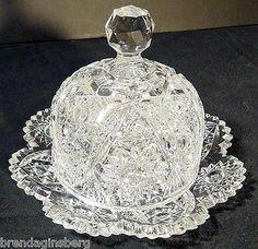 Antique American Brilliant Cut Glass Butter Plate & Dome Butter Dish (#5255)