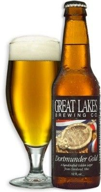 Cerveja Great Lakes Dortmunder Gold Lager, estilo Dortmunder Export, produzida por Great Lakes Brewing Company , Estados Unidos. 5.8% ABV de álcool.