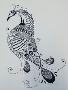 Peacock pen illustration 2015.05
