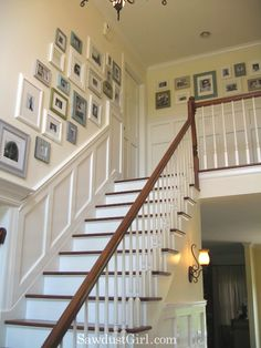 photo wall ideas for stairwall | The stairs and upstairs hallway are next on the house tour. The ...