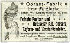 Original-Werbung/ Anzeige 1903 : FRAU M. STARKE CORSET- FABRIK BERLIN - Ca  100 X 60 Mm - Werbung