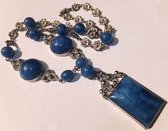 VINTAGE SIGNED CZECH MOTTLED BLUE GLASS MARCASITE NECKLACE
