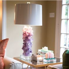 Amethyst Crystal Table Lamp Base Modern Lighting home accessories at it's finest. It goes well with your boho home decor. Table Lamp Base, Lamp Bases, Table Lamps, Home Design, Interior Design, Design Design, Displaying Crystals, Diy Casa, Crystals In The Home