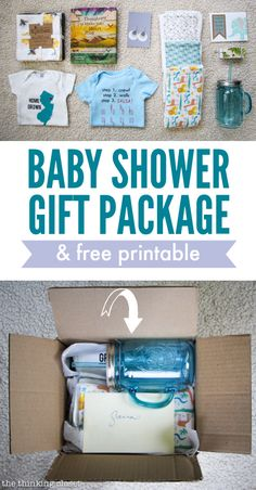 Baby Shower Gift Package & Printable - the thinking closet Homemade Gifts, Diy Gifts, Virtual Baby Shower, Baby Wedding, Baby Crafts, Gift Packaging, Mini Books, Creative Gifts, Baby Love