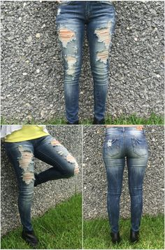 Distressed denim ready for an activity! A perfect distressed look with 4 pockets, 2 on the front and 2 on the back with a front zipper and button closure. Perfect for dressing up or dressing down.