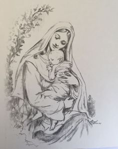 Christian Drawings, Christian Artwork, Religious Images, Religious Art, Nativity Painting, Mother Daughter Art, Jesus Drawings, Drawings Pinterest, Anime Drawings Sketches