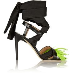 MSGM Feather-trimmed leather and poplin sandals (9.720 RUB) ❤ liked on Polyvore featuring shoes, sandals, heels, ankle tie sandals, leather high heel sandals, leather sandals, tie sandals and leather shoes