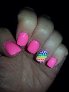 Pink nails rainbow polkadots