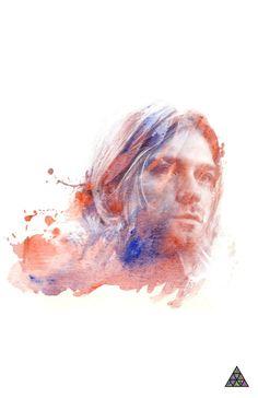 Kurt Cobain Watercolor Art Print