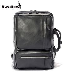 SWALLOW Multifunctional Double Handle Leather Backpack Men Waterproof Travel Backpack For 14 inch Laptop Backpack Casual Daypack #Affiliate