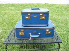 Vintage Sapphire Blue Suitcase Set by MrsRekamepip on Etsy, $65.00