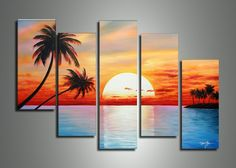 5014 handmade 5 piece blue red landscape wall art oil paintings on canvas sunset ocean pictures unique gift for living room $60.00