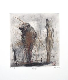 Fury (2008). Edition of 25. Drypoint and Hand Painting