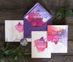 Purple and Fuchsia Watercolor Wedding Invitations by Lattice Tree Studio