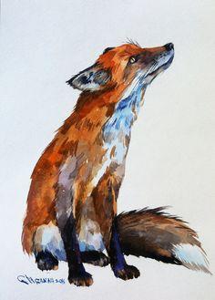 Red Fox Wildlife animal ORIGINAL WATERCOLOR PAINTING by alisiasilverART on Etsy