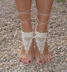 Crochet  Barefoot sandals,Ivory Barefoot Sandles, Footless sandles on Etsy, 9,72€