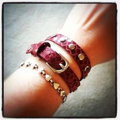 Skinny wrap leather bracelet in Ruby Dragon