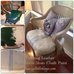 An old, outdated leather chair gets an update with Annie Sloan Chalk Paint. (I even added a ticking stripe) - by SnazzyLittleThings.com