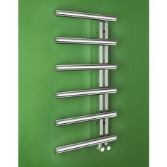 Fresh zesty-green feature wall compliments polished chrome perfectly.    Bisque Chime Towel Radiator CHM100-50 - BISQ722 (CHM100-50). Buy Heated Towel Rails & Towel Drying Radiators from UK Bathrooms