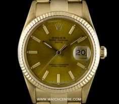 Yellow Gold O/P Champagne Baton Dial Gents Rolex Date, Gold Watch, Rolex Watches, Champagne, Dating, Yellow, Accessories, Quotes, Jewelry Accessories