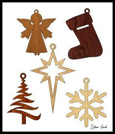 Five Simple Christmas Ornament Scroll Saw Patterns.