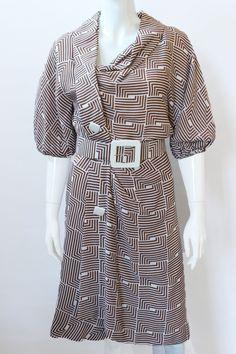 Jacqueline de Ribes Brown White Graphic Dress, Vintage