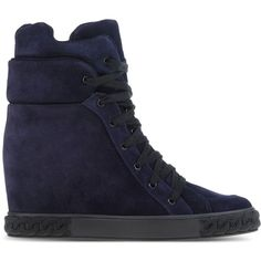 Casadei High-Tops & Trainers ($720) ❤ liked on Polyvore featuring shoes, sneakers, dark blue, wedges shoes, hi top wedge sneakers, leather wedge shoes, hi tops and leather sneakers