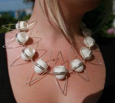 Necklace | Dee Frost. Undyed silk cocoons in sterling silver