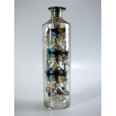 925 - 1800s Glass Bead Whimsey and Folk Art Winder in a Bottle