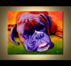 Boxer Portrait | Custom Boxer Portrait | Boxer Painting From Your Photos | Boxer Art by Iain McDonald. I love this artwork. I have two boxers at home and it's funny when they stick their tongue out. This is a very soft and elegant piece. The colors work very well together. Everything blends nicely. I like the texture in the face. I know a lot of people who would hang this on their wall.