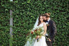 bride and groom - photo by Smith House Photography http://ruffledblog.com/black-tie-halloween-wedding-inspiration