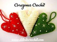 Corazones crochet para navidad