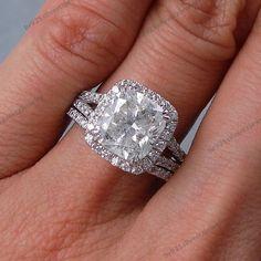 Cushion 3CT Diamond Split Shank Ring Wedding 3Pcs Bridal Ring Set In 925 Silver #br925silverczjewelry #WeddingEngagementAnniversaryBirthdayGift