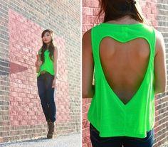 heart-shaped back, open back top