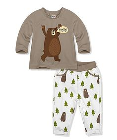 17ace7042 PeppyMini Coffee Bear Tee & Pants - Infant & Toddler | zulily Cute Outfits  For Kids