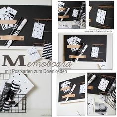 Heut zeig ich euch ein kleines DIY. Ein Memoboard mit Kreidelack und Lederriemen. Zusätzlich hab ich noch 4 Grafiken im Postkartenformat für euch. #DIY #Memoboard #kostenlos #Download #Grafiken #Postkarten Memo Boards, Blog, Office Supplies, Playing Cards, Poster, Party, Print Templates, Graphics, Deco