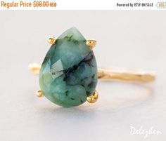 SALE - Green Raw Emerald Ring - May Birthstone Ring - Gemstone Ring - Stacking Ring - Gold Ring - Tear Drop Ring - Prong Set Ring by delezhen